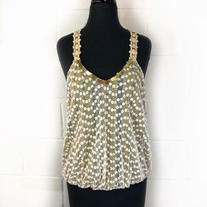 Free People Boho Tank Top With White Floral Mesh